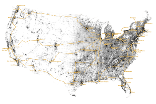 rail tracks versus population density